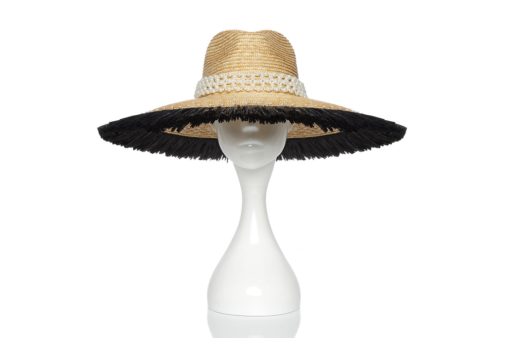 Wheat Straw Hat with Big Brim with Black Straw and Pearl Embellishments