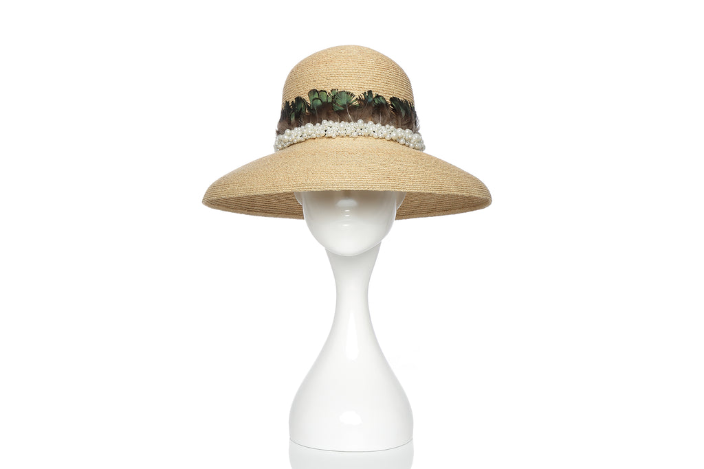 Raffia Bowl Hat with Pearl Embellishment and Feathers