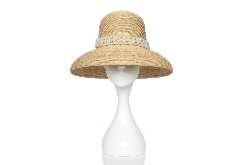 Raffia Bowl Hat with Pearl Embellishment