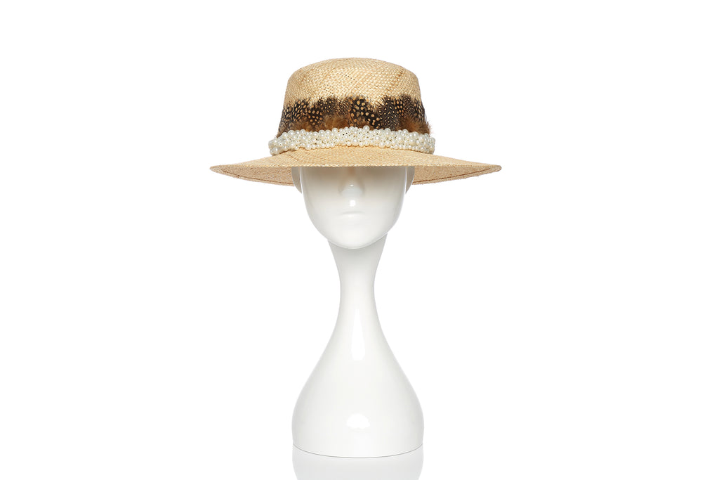 Straw Hat with Pearl Embellishments and Feathers