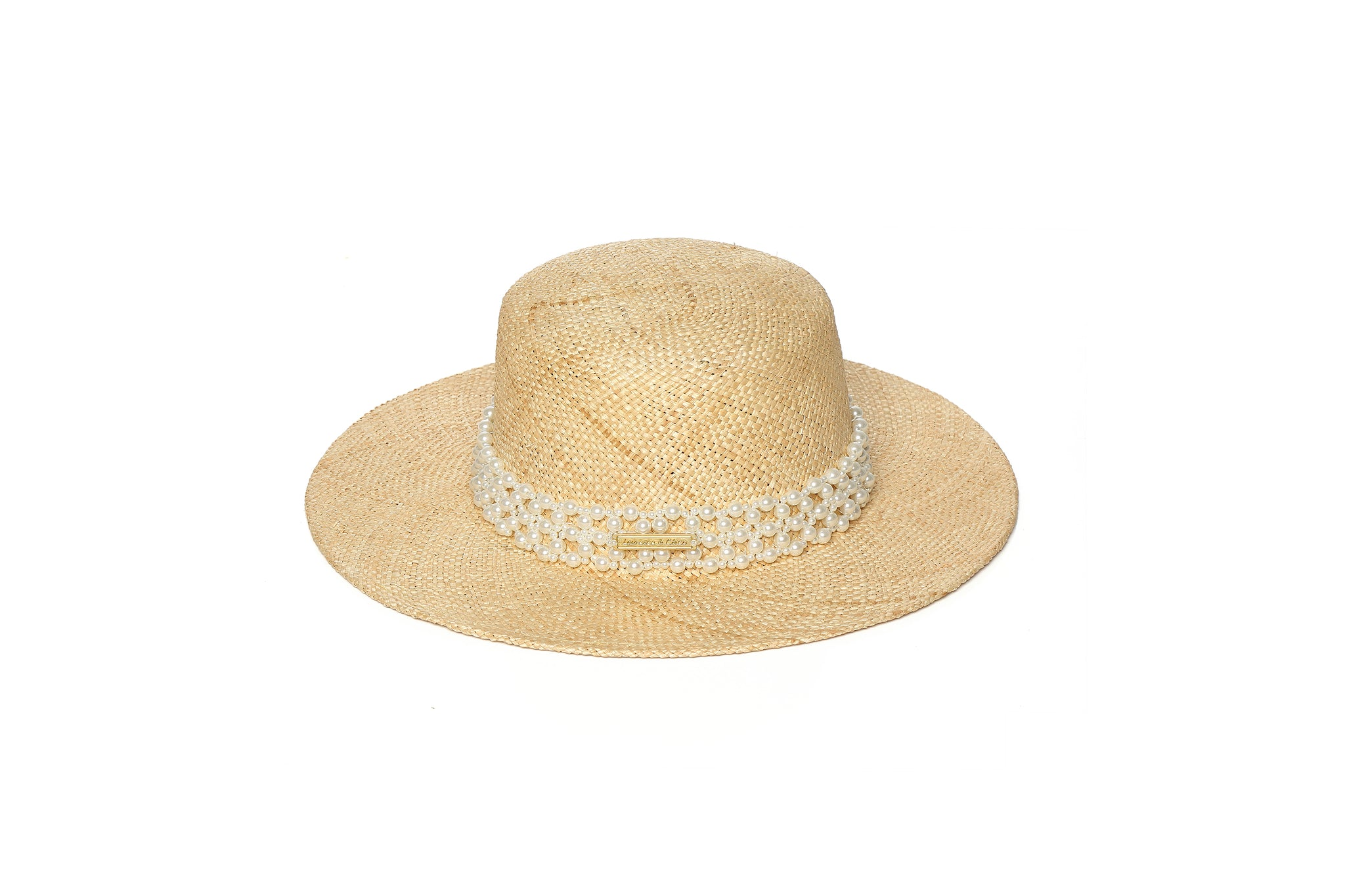 Straw Hat with Pearl Embellishments