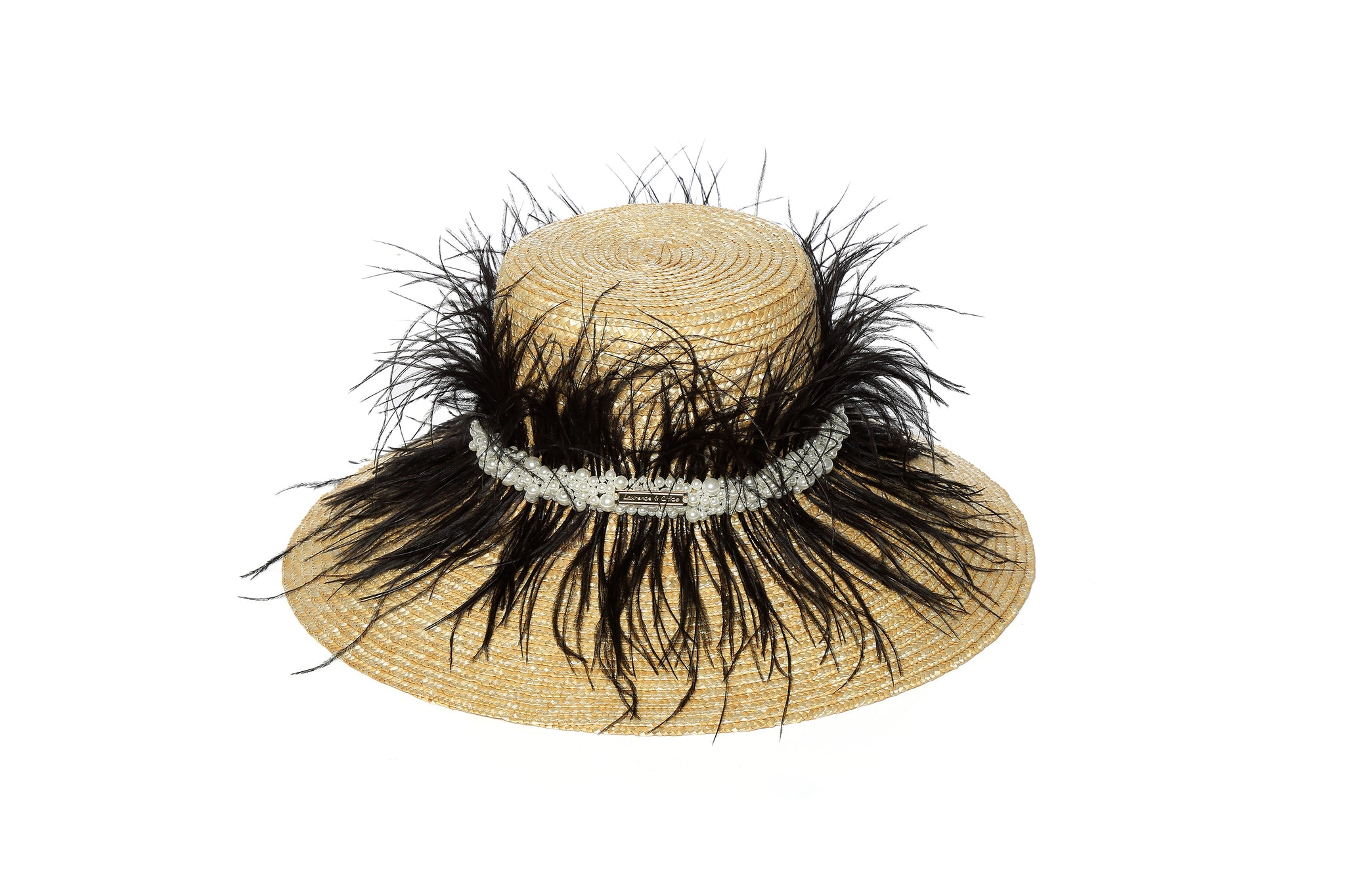 Structured Wheat Straw Hat with Black Ostrich Feathers