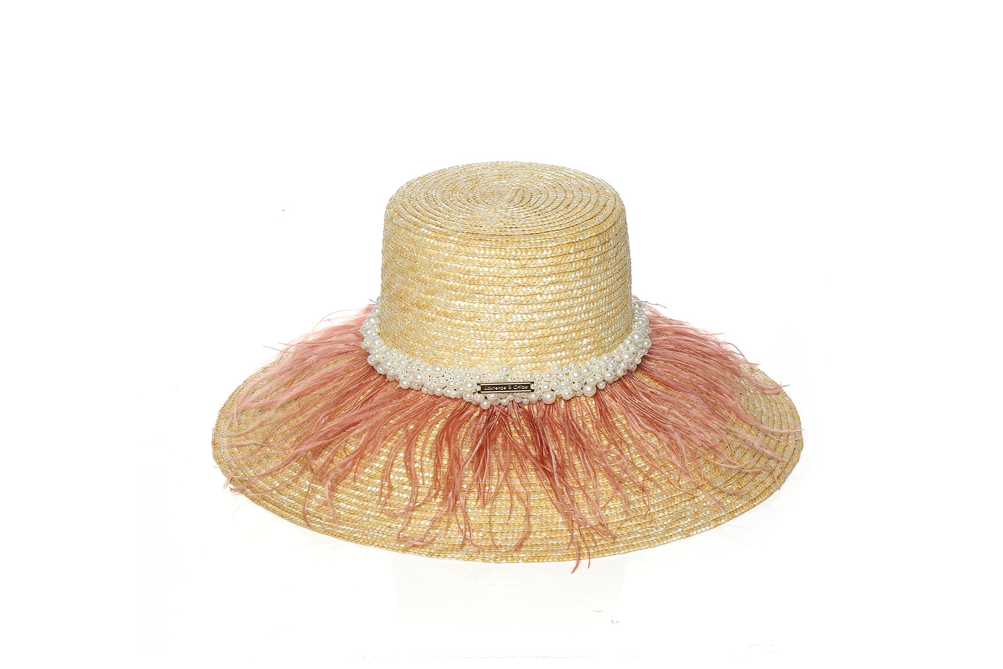 Structured Wheat Straw Hat with Pearl Embellishment and Vintage Pink Ostrich Feathers