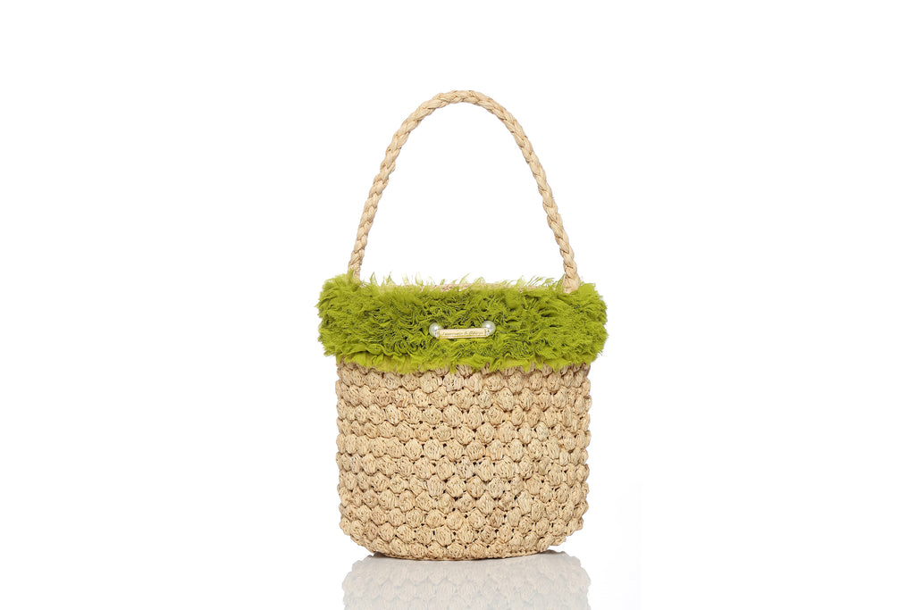 Picnic Raffia Crochet Bag with Green Silk Ruffles