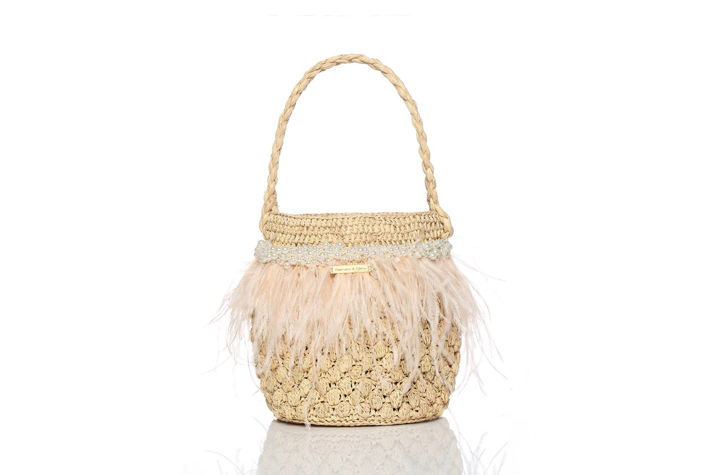 Picnic Raffia Crochet Bag with Pearl Embellishments and Beige Ostrich Feathers