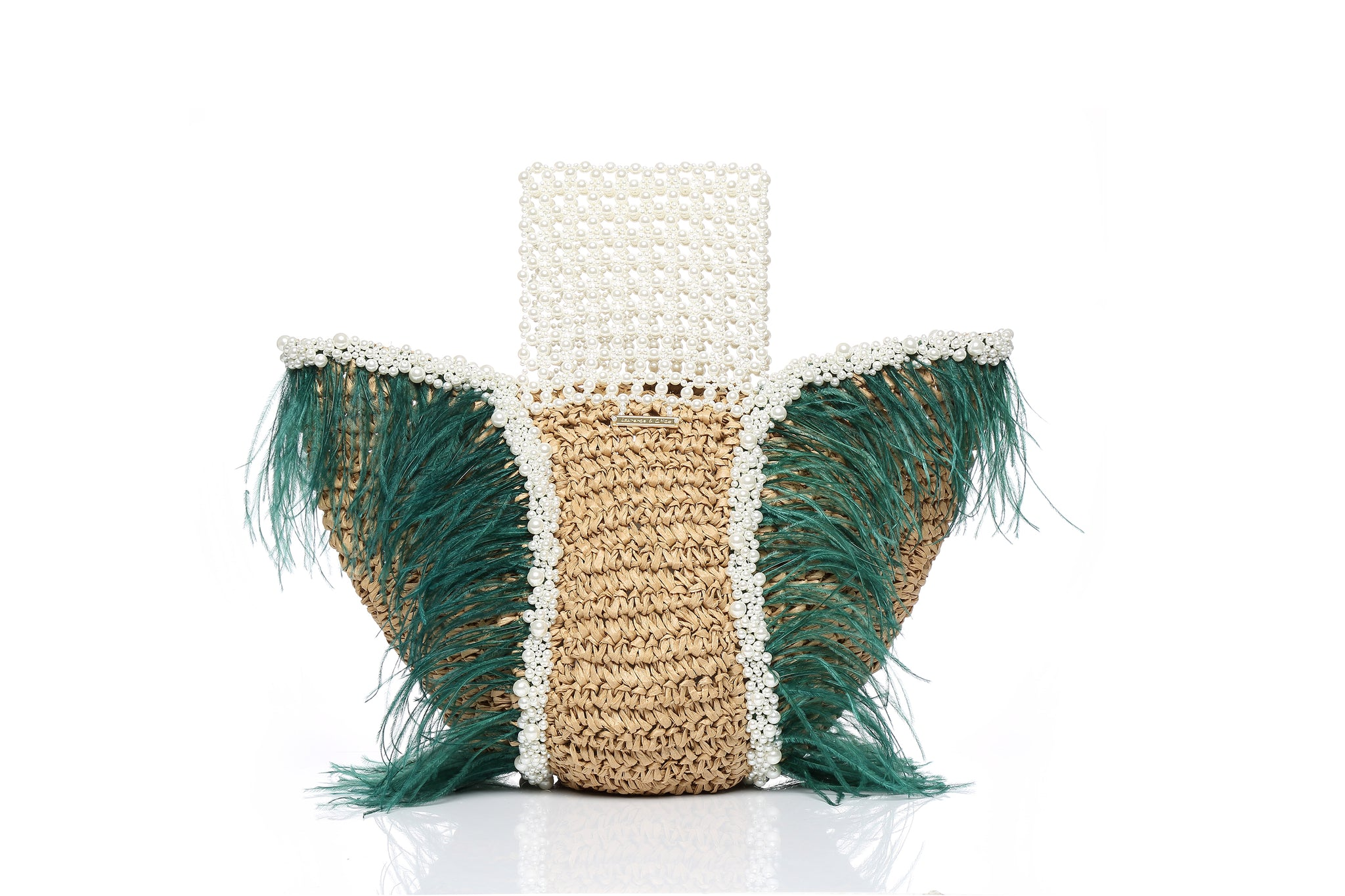 Straw Bag with Pearl Hand-Beaded Handle and Ostrich Feathers, Green
