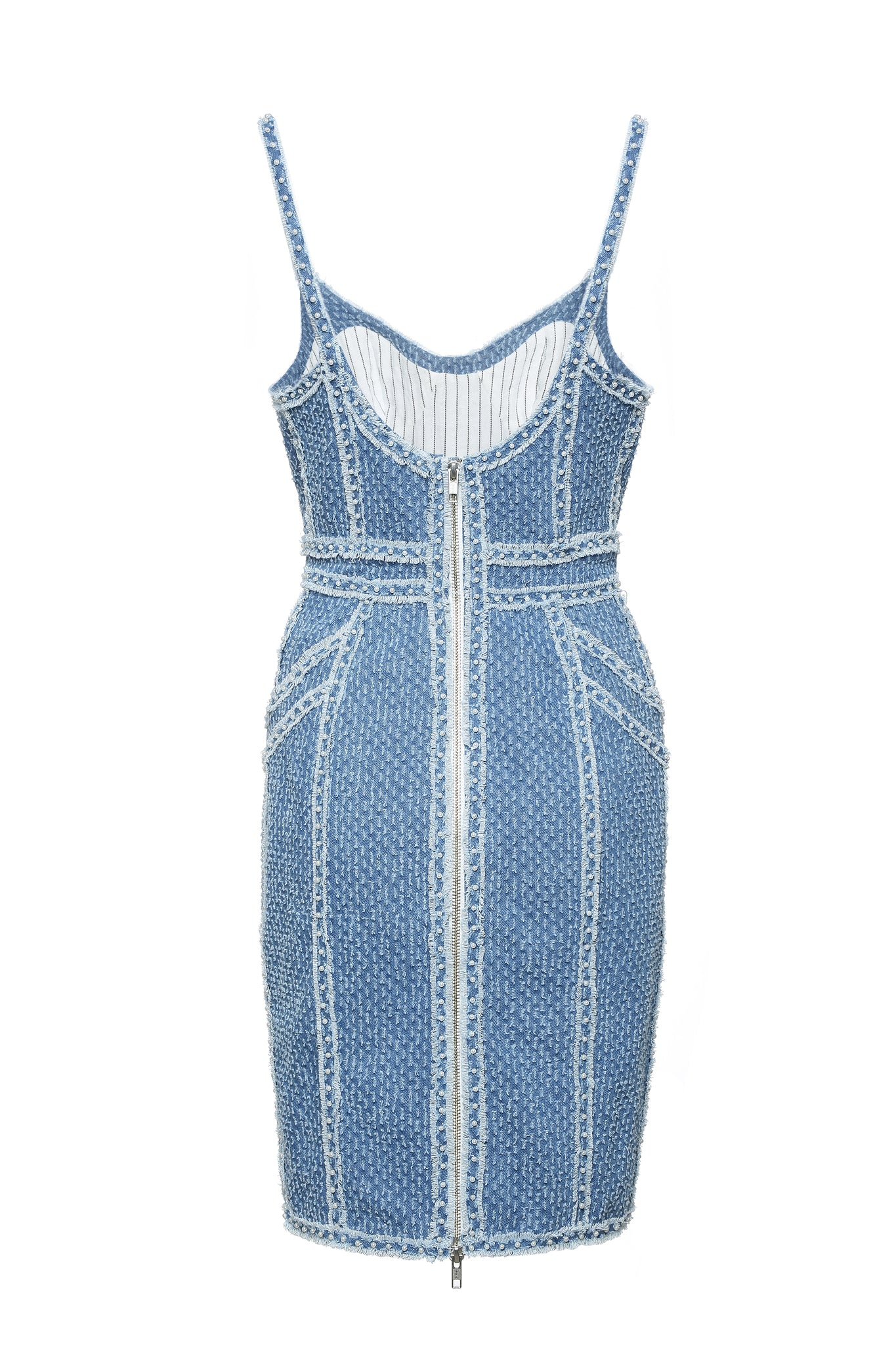 Dress, Strap, Denim with Pearl Embellishment, Tailored