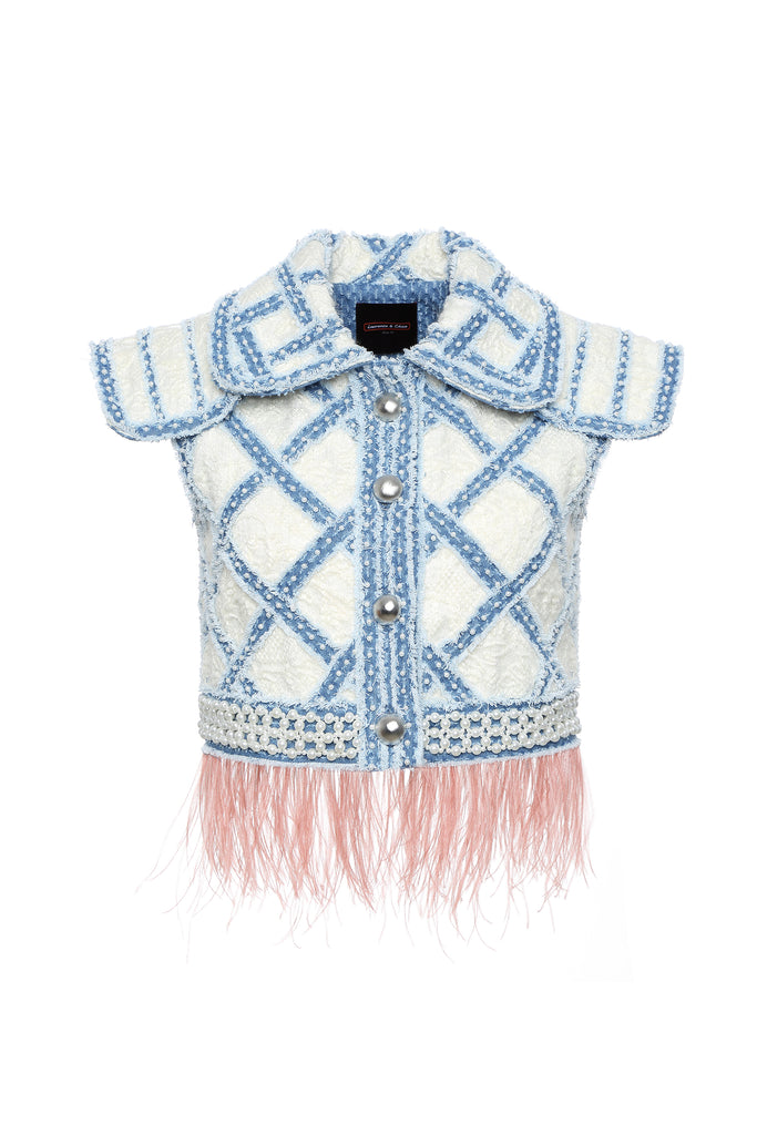 Vest, Handwoven Denim Diamond Quilt on White Lace Wool with Ostrich Feathers, Short
