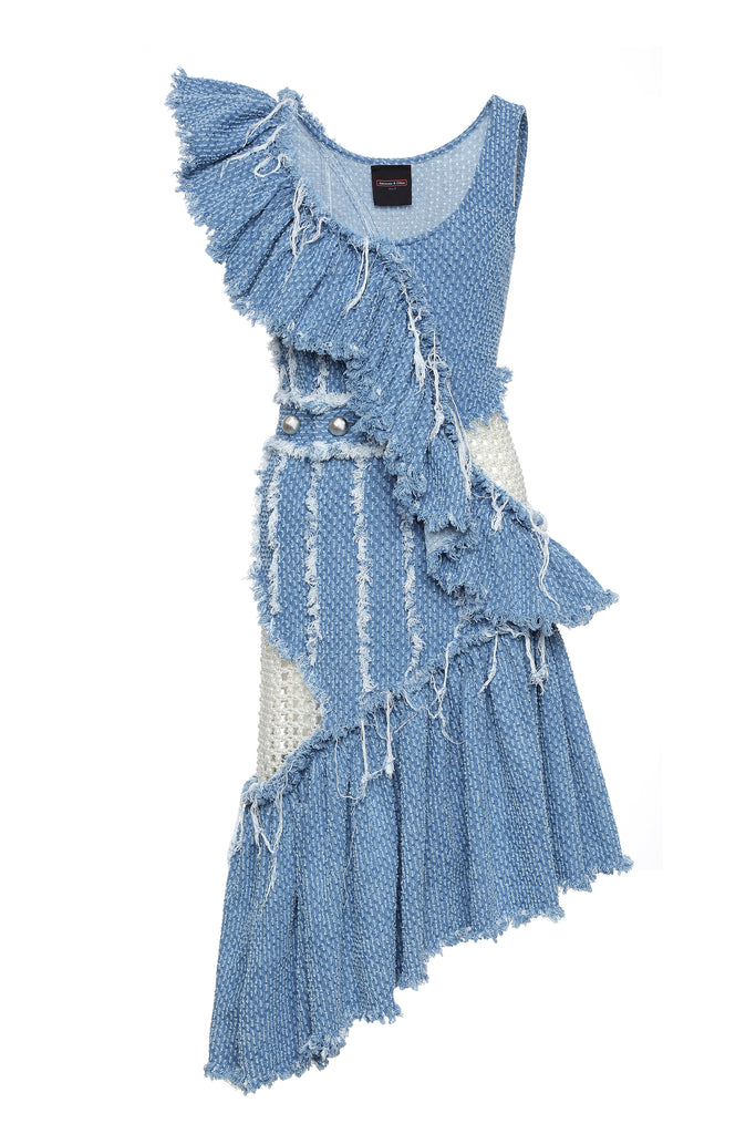 Dress, Denim with Diagonal Ruffles and Pearl Embellishment
