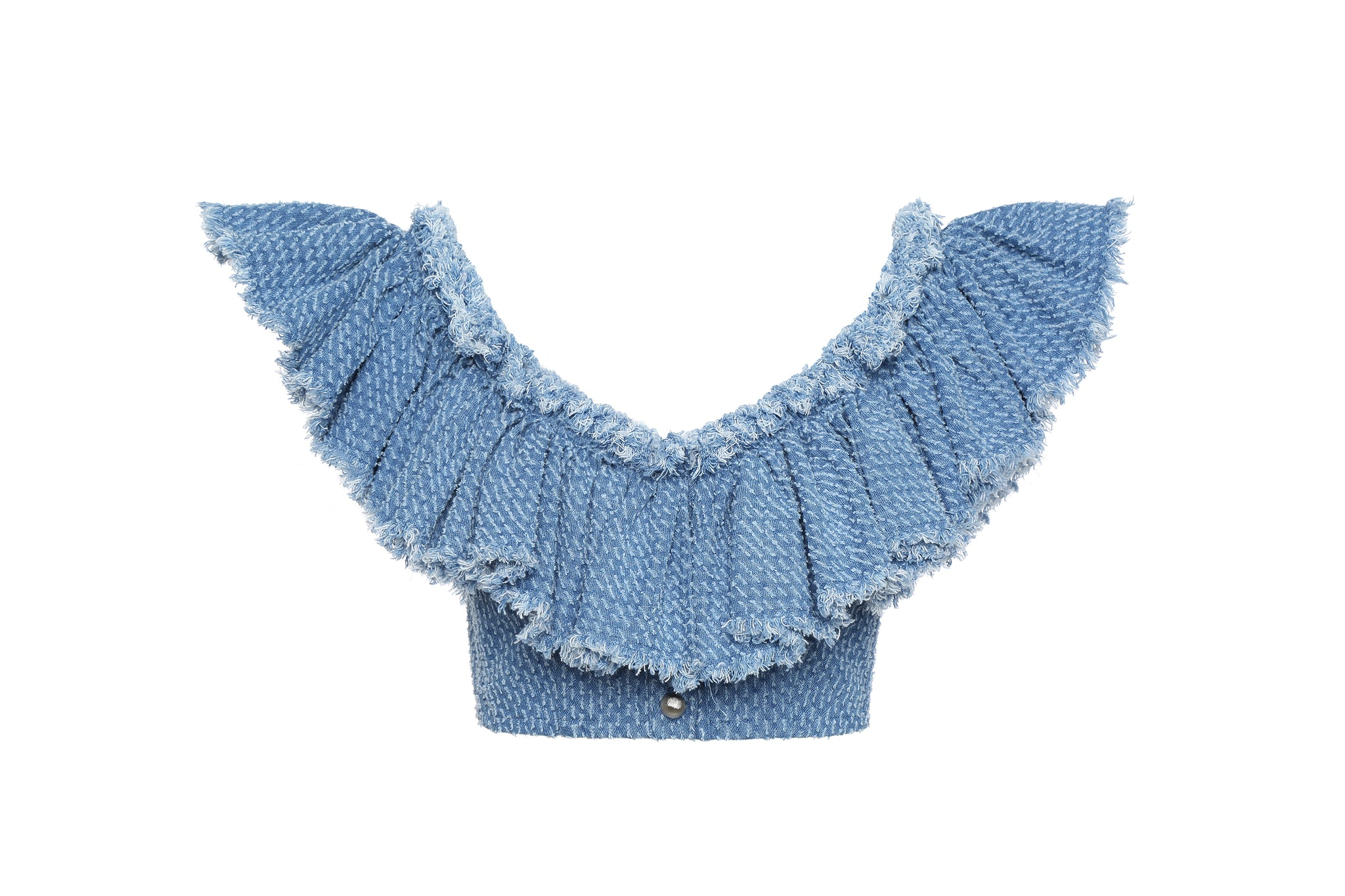 Top, Denim with Ruffles