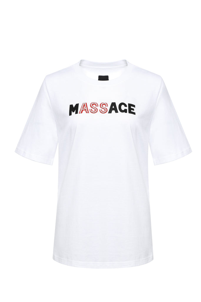 Tee, Massage, with Pearl Embellishment, White