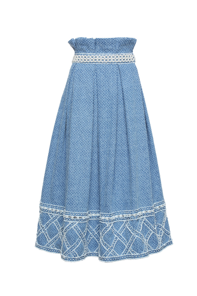 Skirt, High Waisted with Handwoven Denim Diamond Quilt Pearl Embellished Bottom