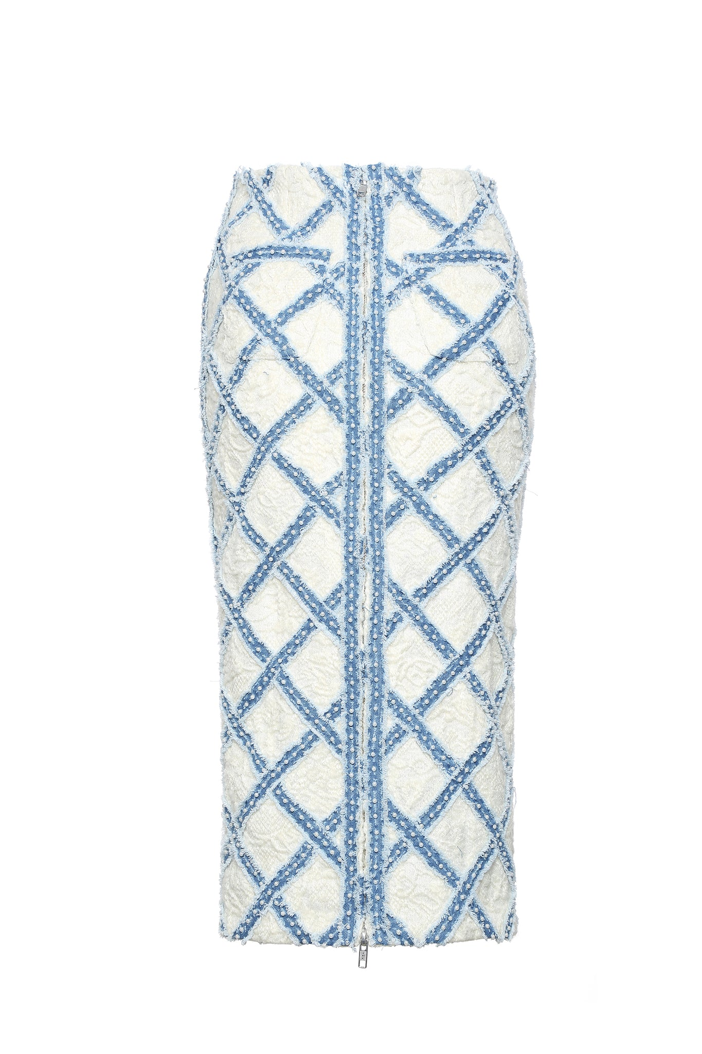 Skirt, Handwoven Denim Diamond Quilt on White Lace Wool, Long