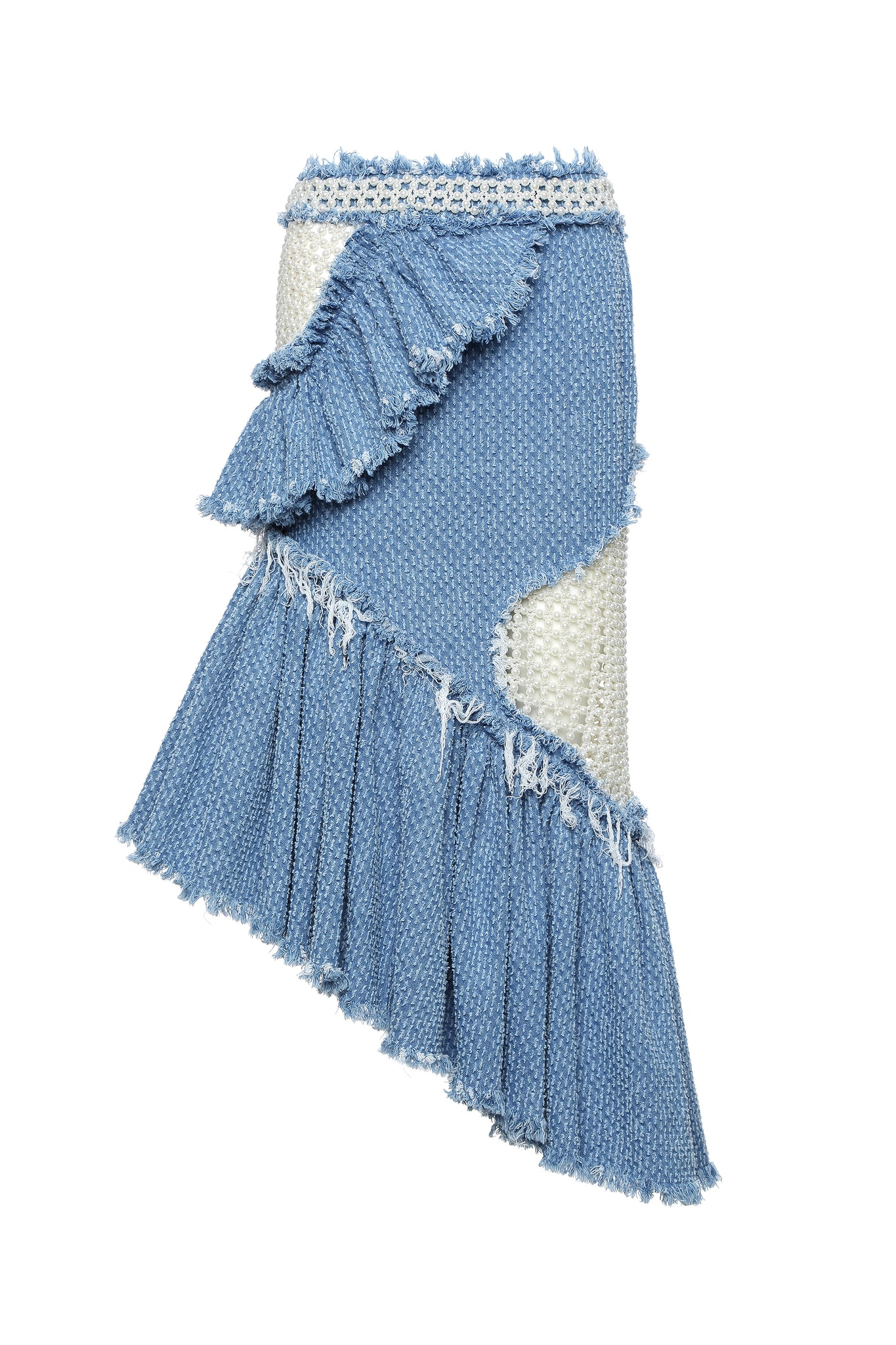 Skirt, Denim with Diagonal Ruffles and Pearl Embellishment