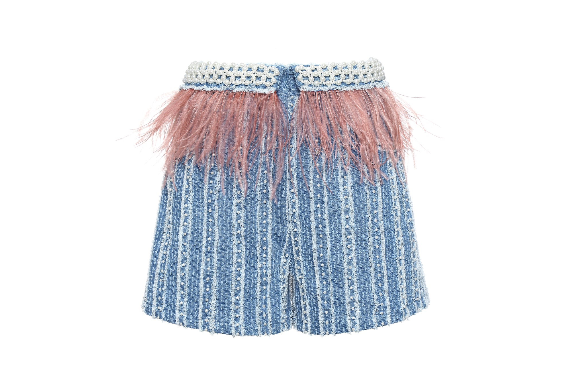 Shorts, Denim wth Stripes, Pearls and Ostrich Feathers Embellishment