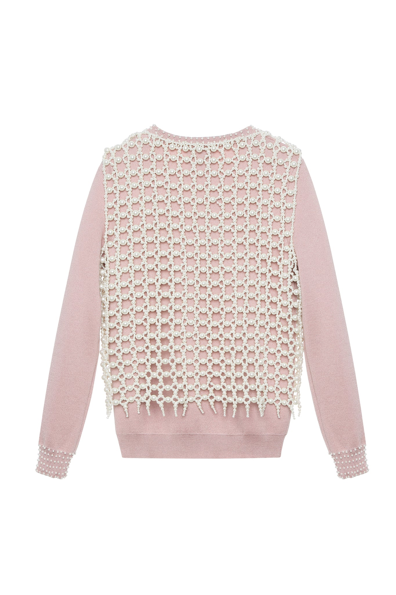 Sweater, with Handwoven Pearl Vest, Pink