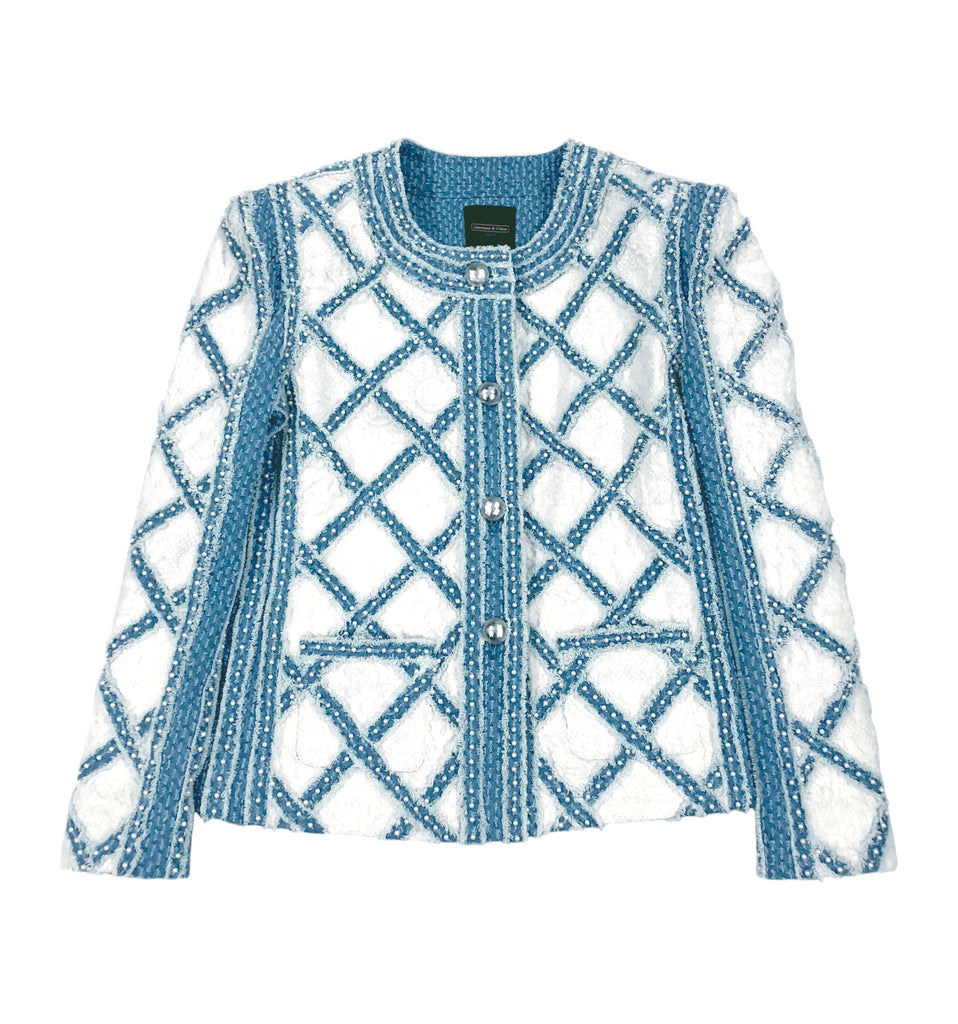 Jacket, Handwoven Denim Diamond Quilt on White Lace Wool, Short