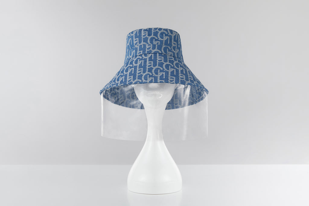 Chichi Laulau Jacquard Bucket Hat, PVC Face Shield, Big Brim, Light Blue