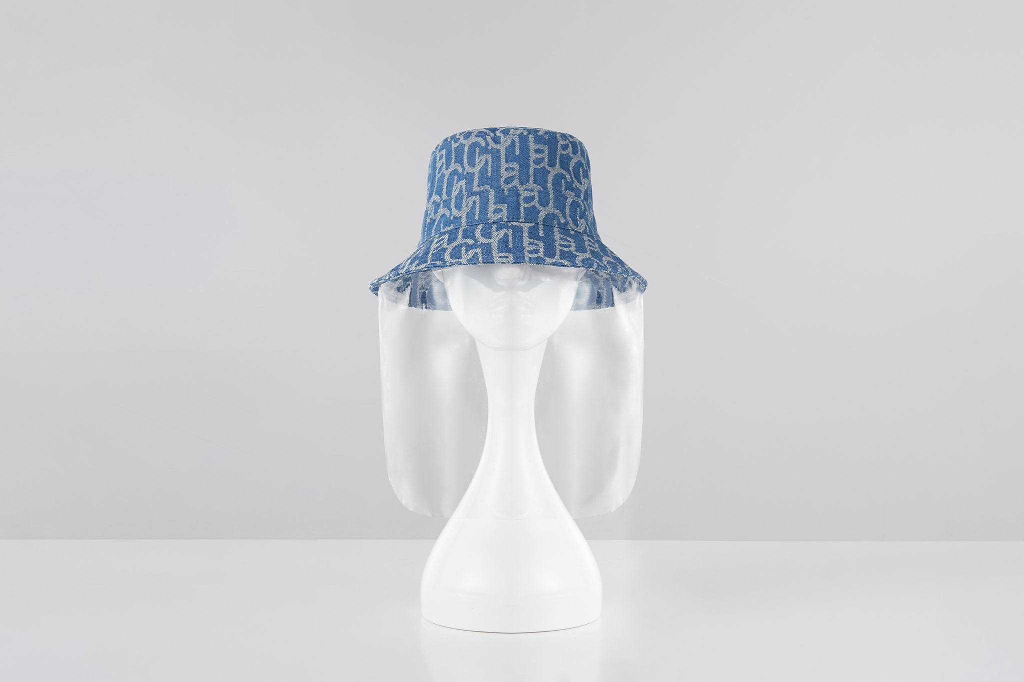 Chichi Laulau Jacquard Bucket Hat, PVC Face Shield, Small Brim, Light Blue