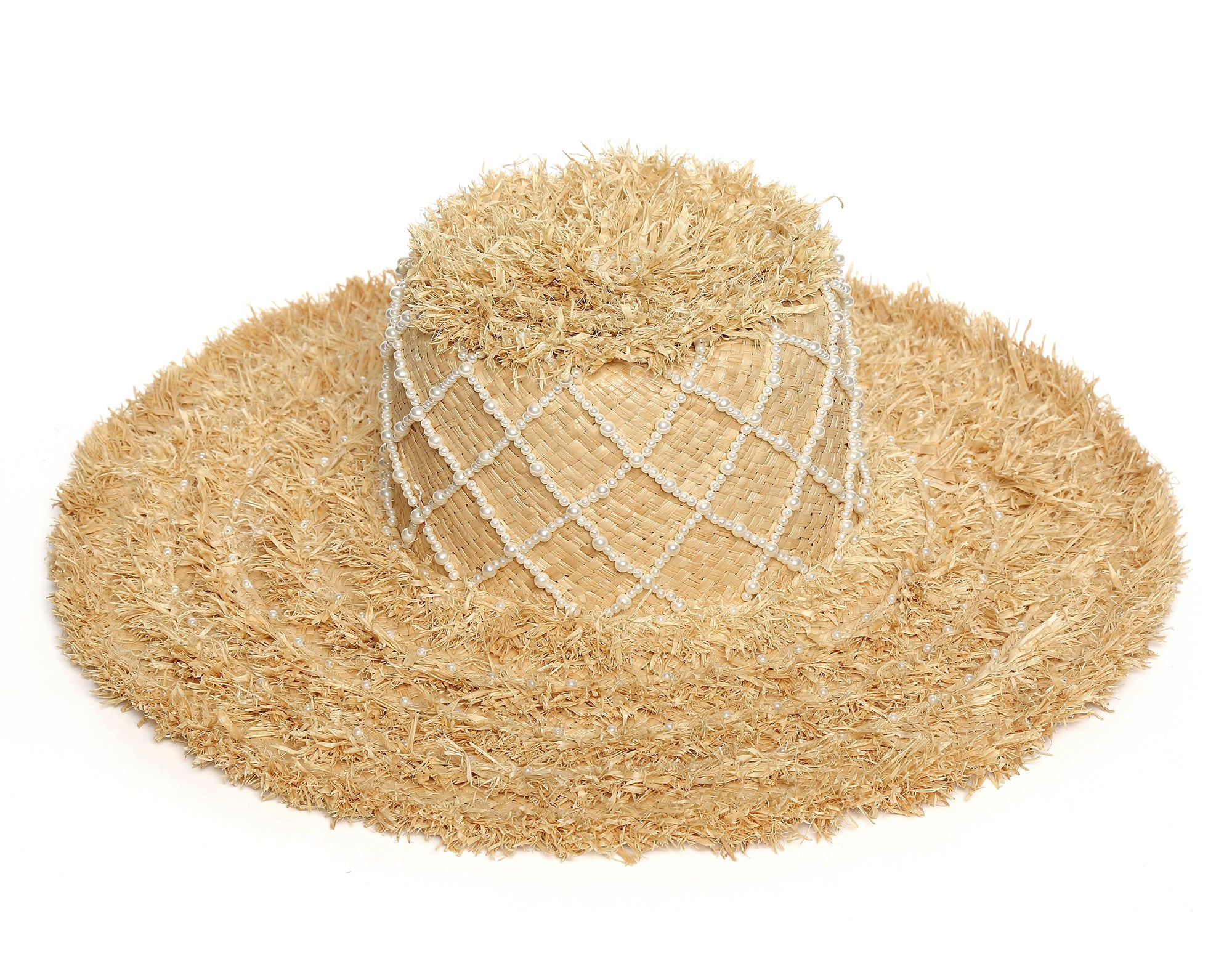 Pearl Embellished Straw Hat