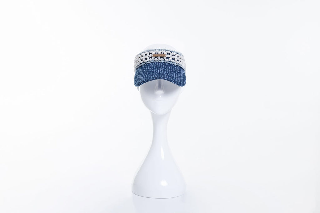 Denim Visor with Pearl Embellishments, Dark Blue