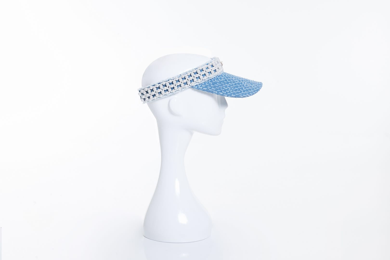 Denim Visor with Pearl Embellishments, Light Blue