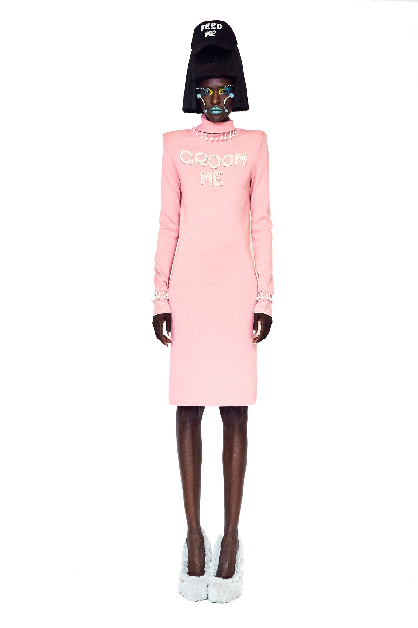 Pink Turtle Neck Sweater Dress with Pearl Embellishments at Chest