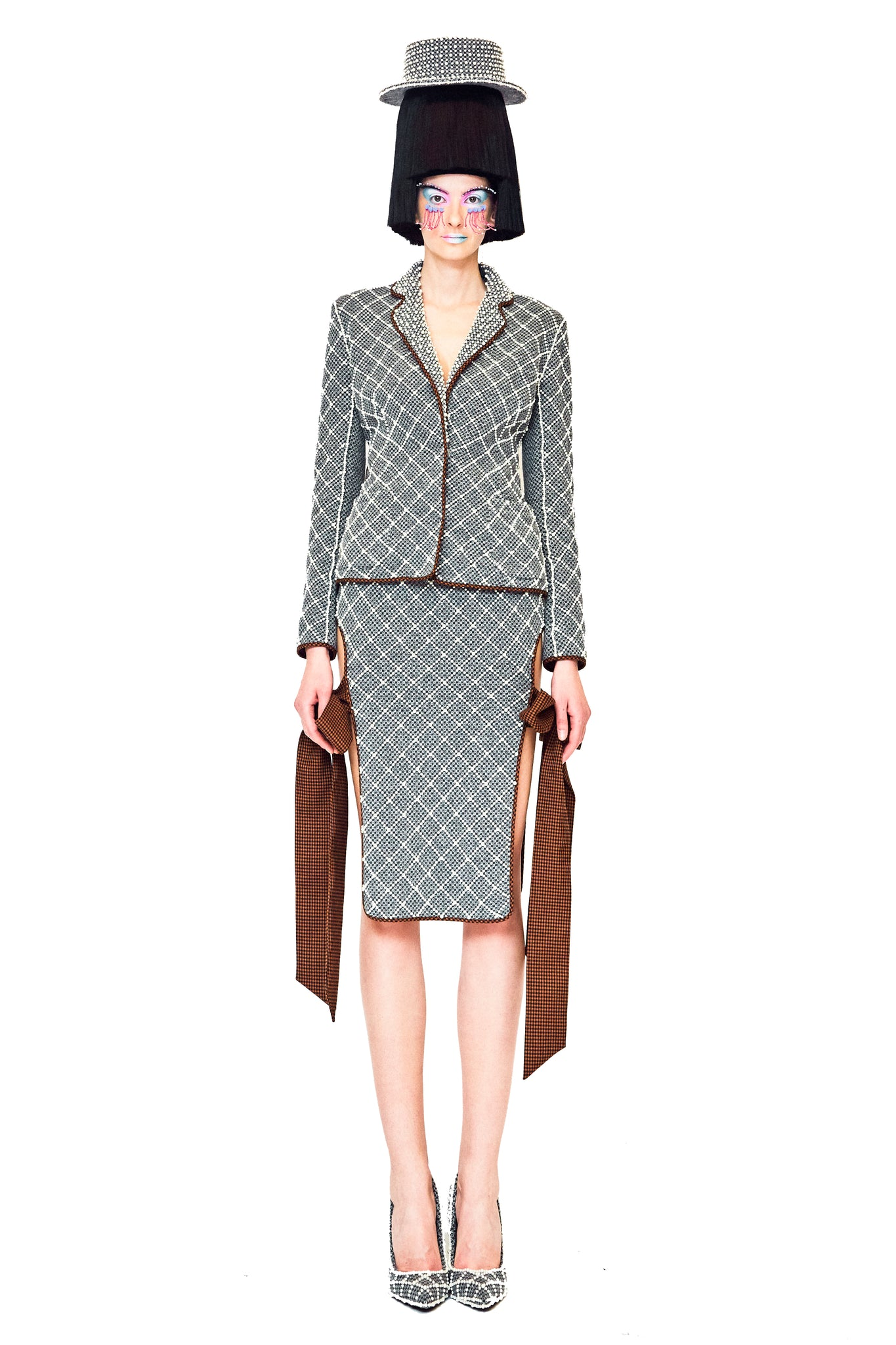 Grey Wool Short Blazer with Gridded Beadings and Cut Out Back