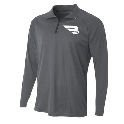 B45 Baseball Apparel Small / Graphite 1/4 Zip Long Sleeve Pullover
