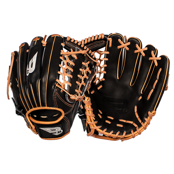 "B45 Fielding Gloves Right-Hand Throw / Black with Tan lacing Diamond Series 11.75"" Modified Trap Web Baseball Glove"