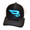 B45 Headwear Black/White with Blue logo B45 Trucker Hat