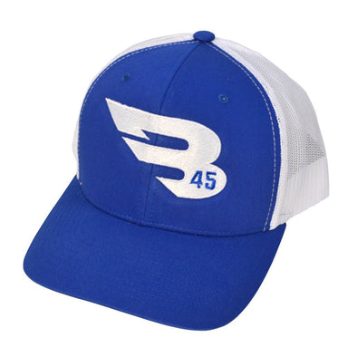 B45 Headwear Royal Blue/White with White logo B45 Trucker Hat