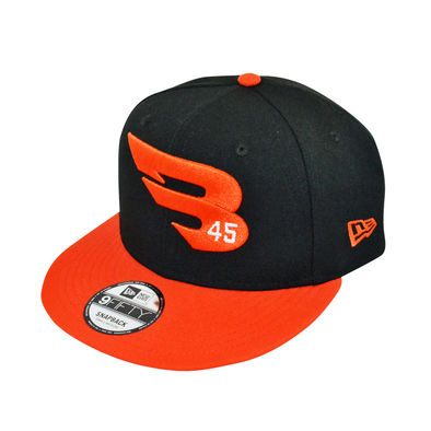 New Era Cap Headwear Small-Medium Black & Orange 9FIFTY New Era Snapback Hat