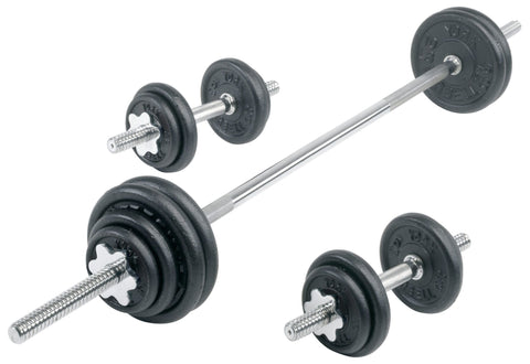 York Contour Cast Iron Spinlock Dumbbell/Barbell Set