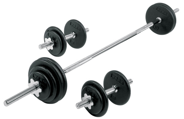 York Pro Cast Iron Dumbbell/Barbell Spinlock Set