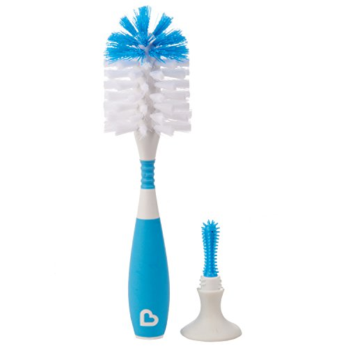 Munchkin 2 Count Sponge Bottle Brush with Nipple Brush, Blue/Green