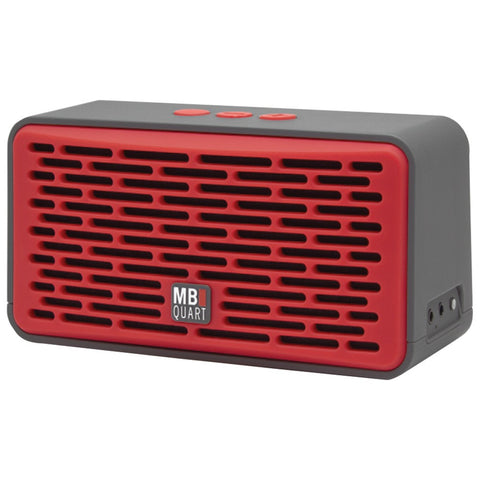 Mb Quart Oversized Bluetooth Speaker With Passive Radiator (gray Body & Red Grille)