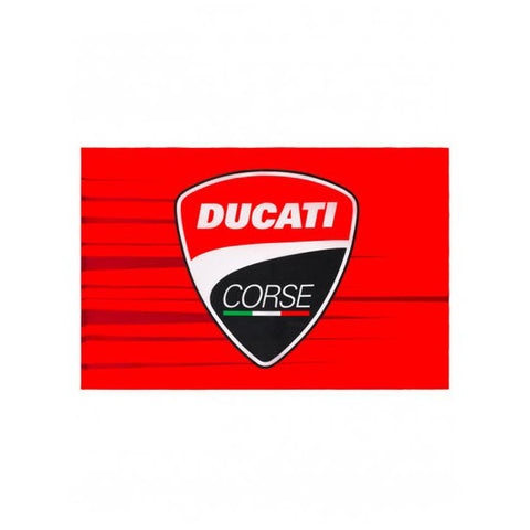 Ducati Corse Official Licensed Crest Shield Logo Flag - Red