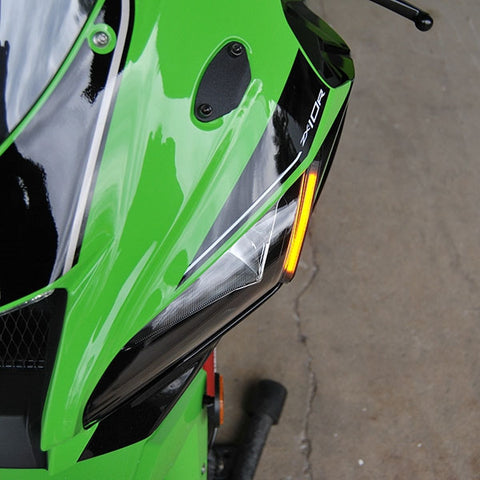 NRC Kawasaki ZX10R LED Turn Signals with Mirror Block Off Plates