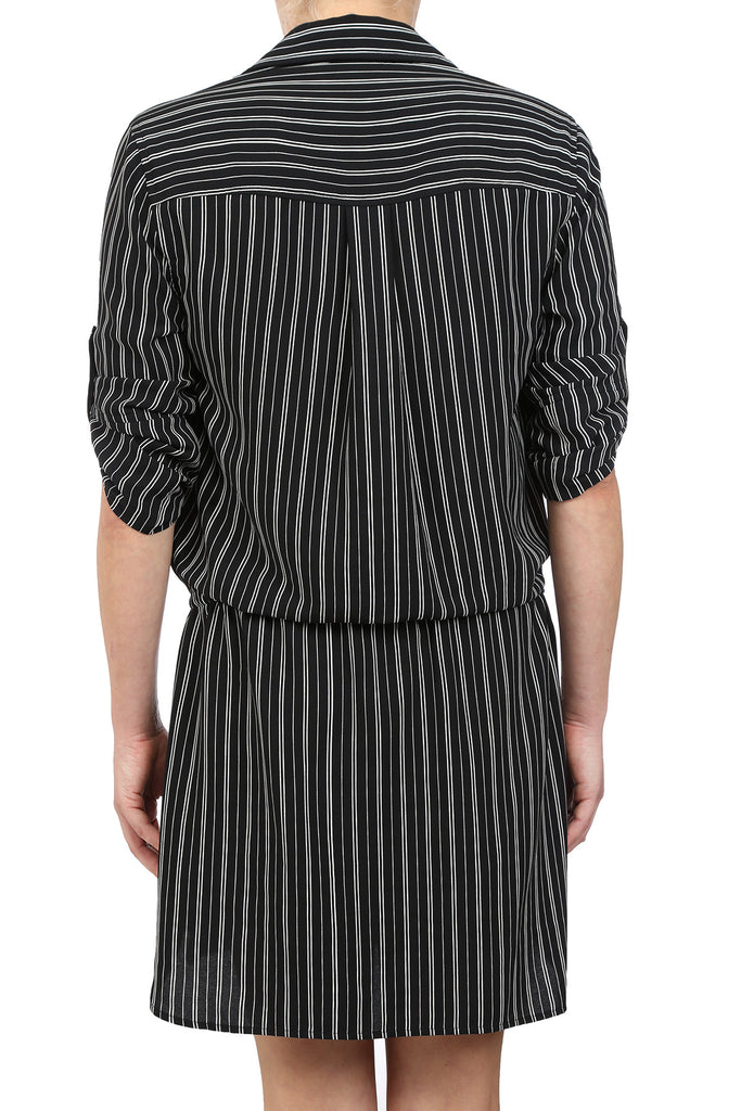 PINSTRIPE DRAWSTRING SHIRT DRESS - AS IS