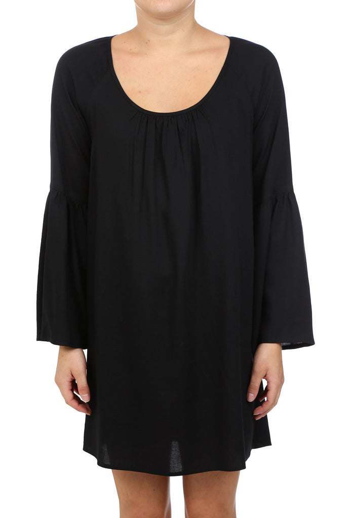 SCOOP NECK PEASANT DRESS - BLACK