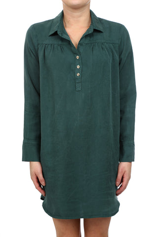 SAFARI TENCEL SHIRT DRESS - HUNTER GREEN