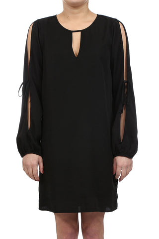 SAFARI TENCEL BOW TIE OPEN SHOULDER DRESS - BLACK