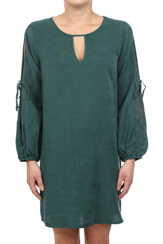 SAFARI TENCEL BOW TIE OPEN SHOULDER DRESS - HUNTER GREEN