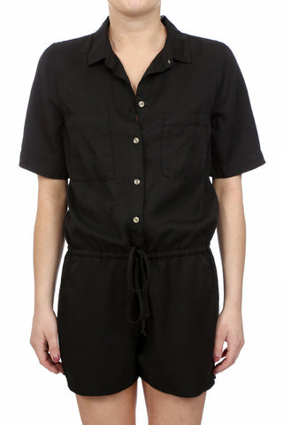 SAFARI TENCEL DRAWSTRING ROMPER - BLACK