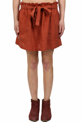 SAFARI TENCEL CARGO SKIRT - RUST