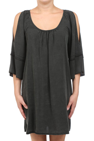 TENCEL GARMENT DYED OPEN SHOULDER DRESS - CHARCOAL