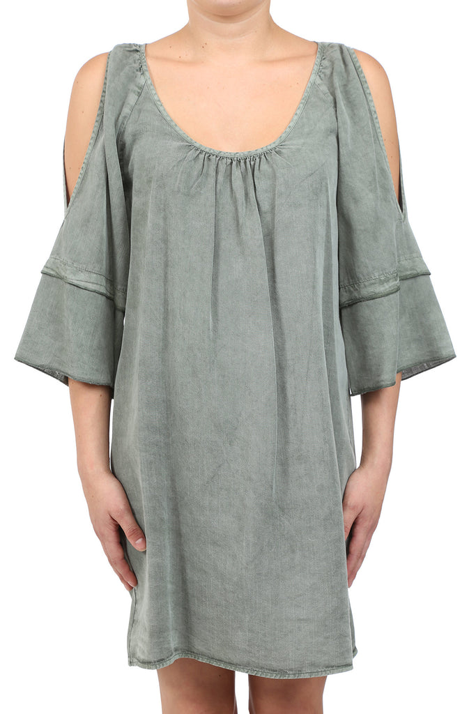 TENCEL GARMENT DYED OPEN SHOULDER DRESS - SAGE