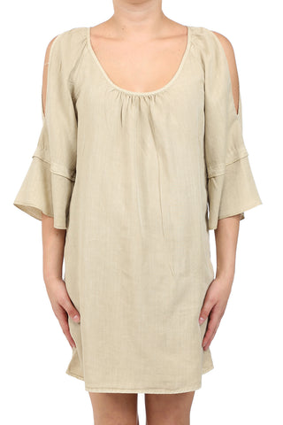 TENCEL GARMENT DYED OPEN SHOULDER DRESS - SAND