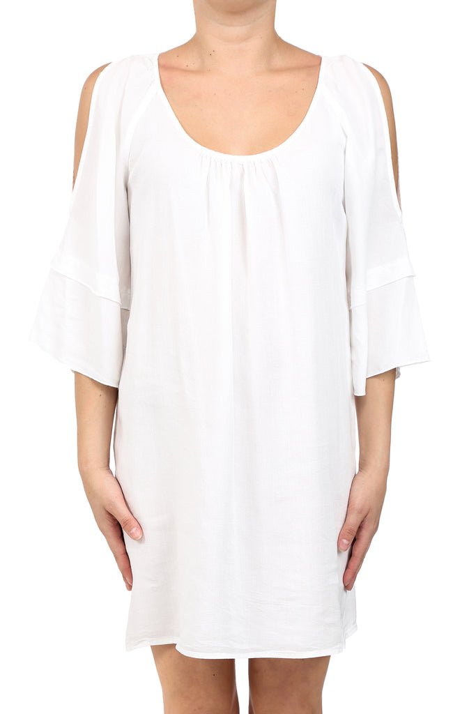 TENCEL GARMENT DYED OPEN SHOULDER DRESS - WHITE